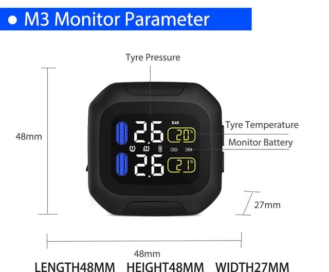 M3 wodoodporny motocyklowy system monitorowania ciśnienia w oponach w czasie rzeczywistym bezprzewodowy wyświetlacz LCD TPMS wewnętrzne lub zewnętrzne czujniki TH/WI
