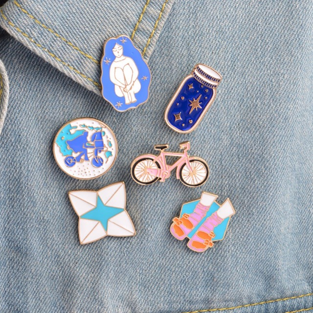 1Pc Brooches & Pins Pink Bicycle Earth Blue Wish Bottle Sock Sandal Pin For Jack