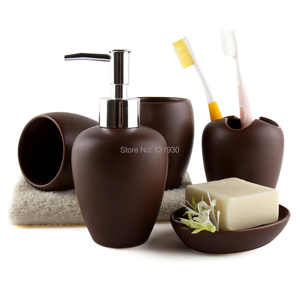 Free shipping ceramic bathroom set 5pcs set housewarming for Ceramic bath accessories sets
