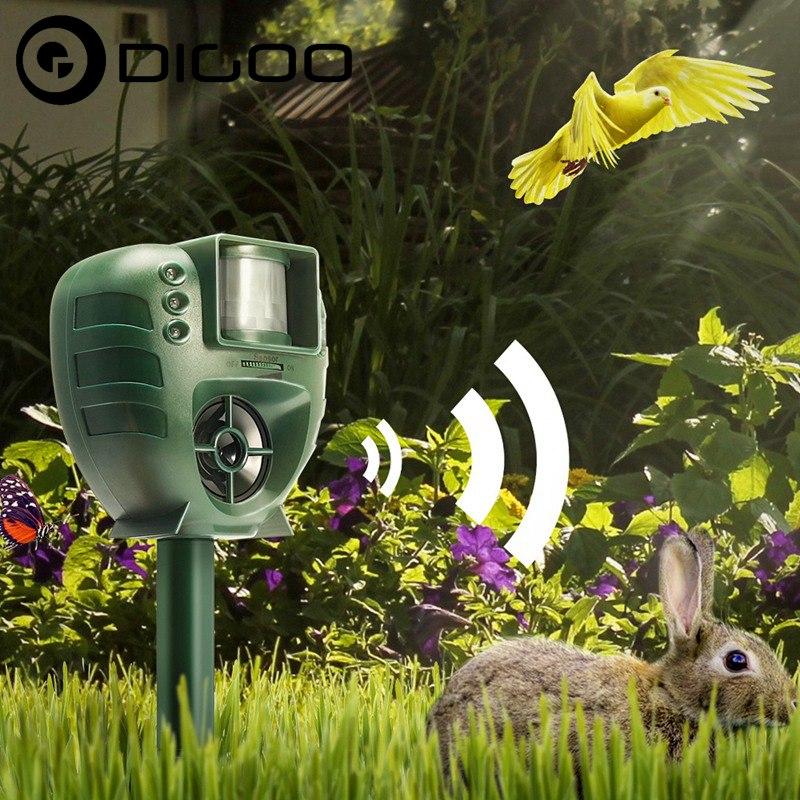 Digoo DG-AR01 Smart Home PIR Ultrasonic Animal Repeller Dog Cat Insect Flash Light Repellent Outdoor Garden Expeller