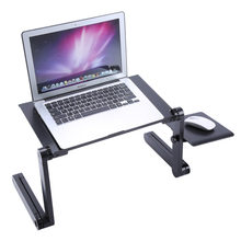 Portable Foldable Adjustable High Laptop Desk Computer Table Stand Tray Notebook Lap PC Folding Desk Table with Mouse with fan(China)