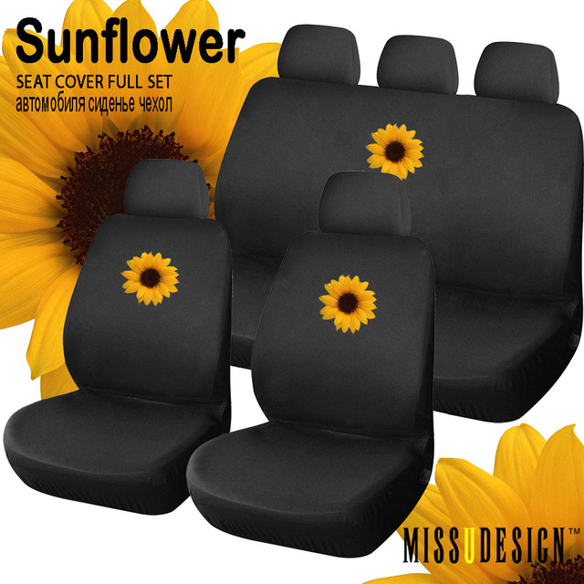 F8S Pretty Sunflower Printing Universal Full Set Car Automobile Interior Accessories Fancy Seat Cover