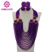 Purple African Costume Beads Jewelry Sets Nigerian Wedding Crystal Bridal Beads Necklace Jewelry Set Free Shipping AIJ200