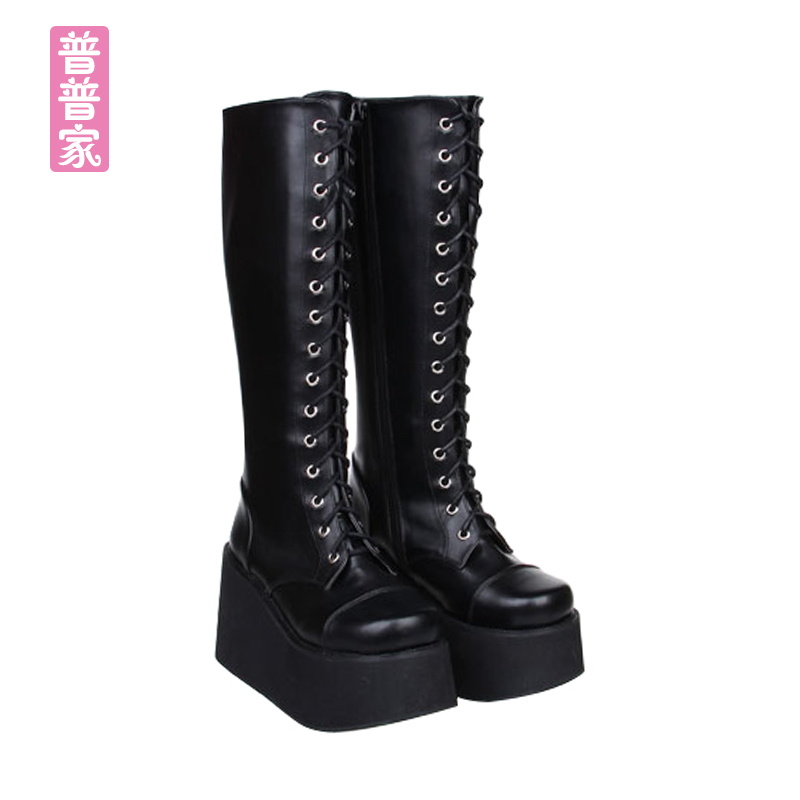 Princess sweet punk shoes Spring and autumn fashion and cool COS thick bottom punk wind high heel muffin boot women pu7008Princess sweet punk shoes Spring and autumn fashion and cool COS thick bottom punk wind high heel muffin boot women pu7008