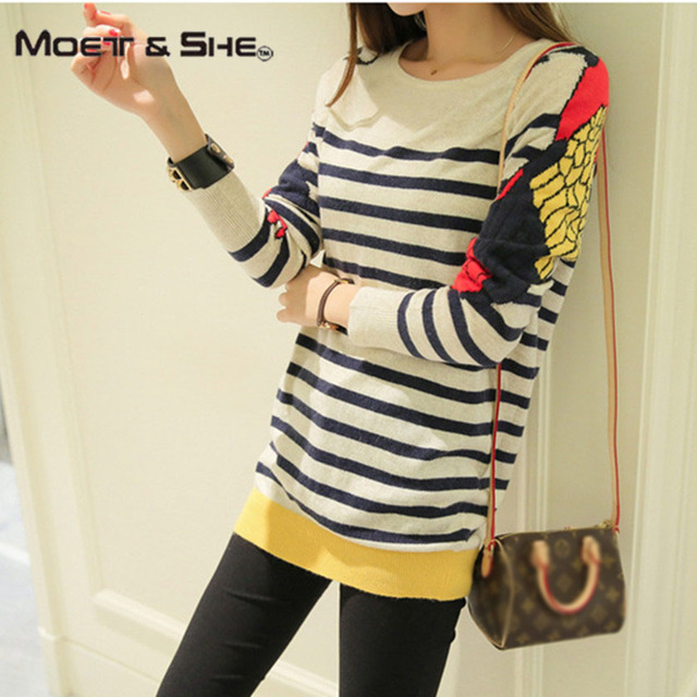 Autumn Korean Cute Women Sweaters Embroidery parrot Stripe Pattern O-neck Long-sleeve Pullovers Female Casual clothing C68270H