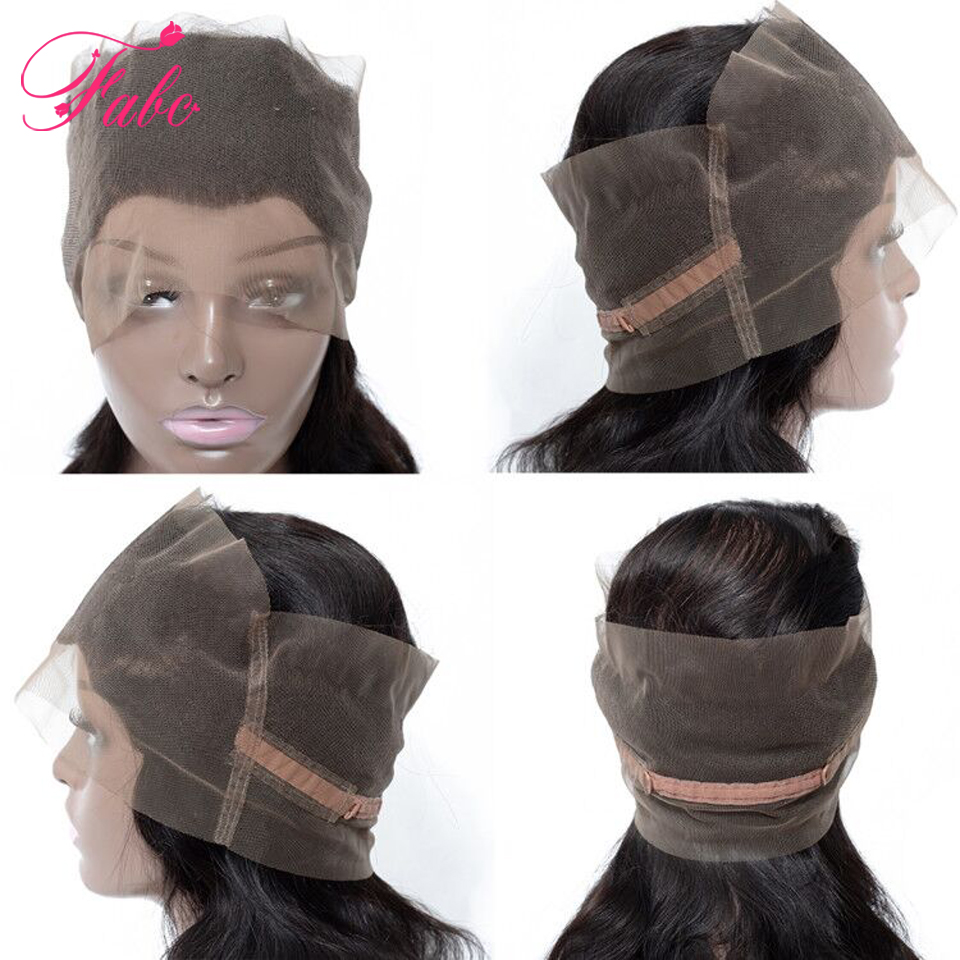 Fabc Cabelo 360 fechamento de Renda Frontal onda do corpo brasileiro Parte Livre fechamento remy do cabelo humano Natural Da Linha Fina Ajustável
