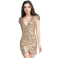 2017 Woman Sexy V Neck Sequined Dress Short Sleeve Party Bodycon Dresses Gold
