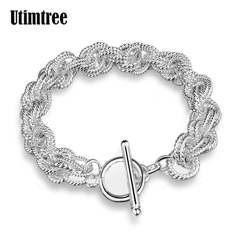 Utimtree Newest Design Trendy Silver Chain Spiral Flower Bracelet For Women Jewelry Bizuteria Braslet Charms Bracelets Bangles