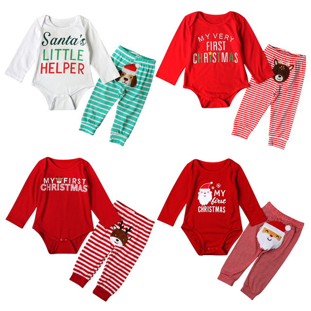 infant baby boy girls my first christmas print clothing set long