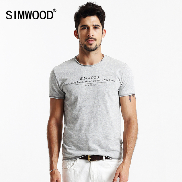 Brand new homens simwood clothing t shirt do verão de manga curta o-pescoço carta Ocasional camisa Magro T Dos Homens Tops Tee Frete Grátis TD1113