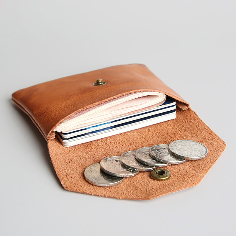 Men and women short wallet Japan and South Korea leisure leather retro wallet buckle wallet large capacity purse