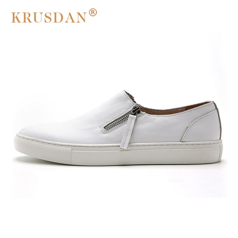 [krusdan]2018 Flats New Arrival Original Brand Casual Men Genuine Leather Loafers Shoes Handmade Moccasins Slip-on Shoes handmade genuine leather men s flats casual haap sun brand men loafers comfortable soft driving shoes slip on leather moccasins