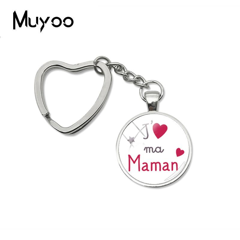 2019 New Jaime Ma Maman Papa Heart Keychain Love Mom Dad Key Chain Handmade Glass Cabochon Jewelry