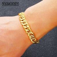 Luxury 24K Gold Color Bracelet male Wristband Men Jewelry Bracelets Bangles Gift For Him wedding Groom gift pulseira masculina