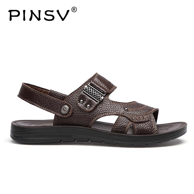 PINSV Genuine Leather Sandals Men Summer Shoes Beach Sandals Men Footwear Slides Men Slippers Erkek Ayakkabi Big Size 38-47