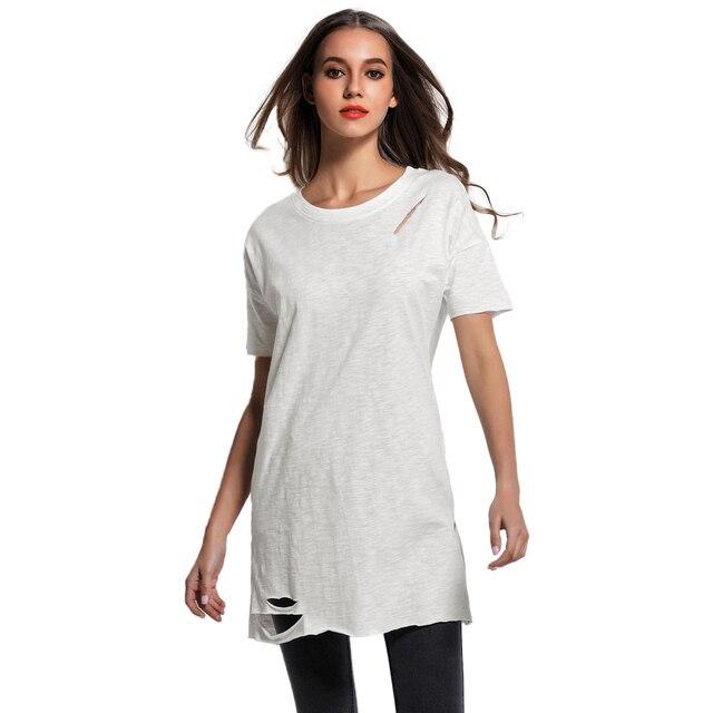 24f26c10a1b456 2019 Korean Women Ripped Holes Long T-Shirt O Neck Short Sleeves Cold Shoulder  Tops Summer Casual Tee Shirt Femme White Blusas