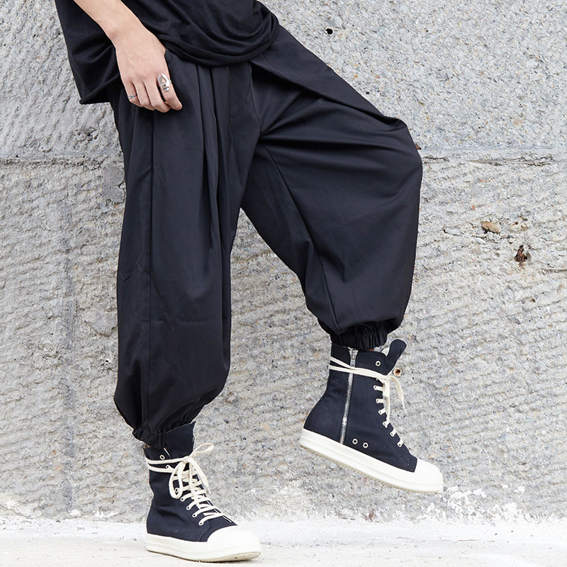 Trousers Harem-Pant Elastic-Waist Loose Punk Men Streetwear Black Japan-Style Male Casual