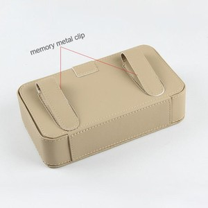 Image 5 - PU leather tissue box car tissue holder sun visor hanging napkin storage box, used for car finishing car accessories