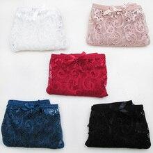 3 PCS 5 Colors High Quality Floral Bow Soft Transparent Sexy Plus Size S-XL Full Briefs