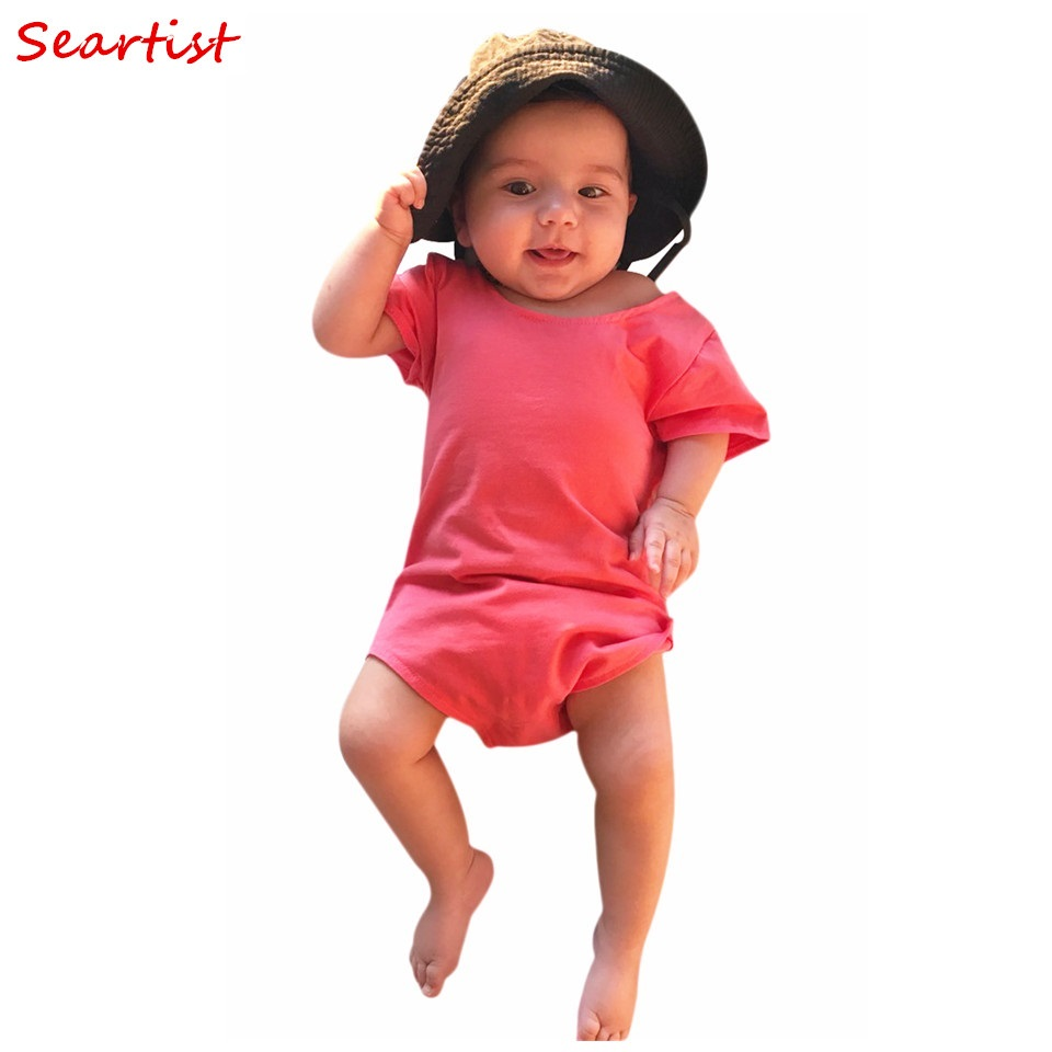 Seartist Baby Girls Summer Romper Newborn Plain Red Jumpsuit Toddler Girl Cotton Rompers 0-2Yrs Summer Jumper 2018 New 25