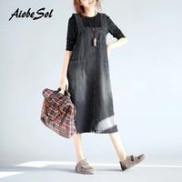 Plus Size Women Jean Dress Summer 2017 Autumn New Literary Loose Square Collar Spaghetti Strap A line Long Denim Dresses