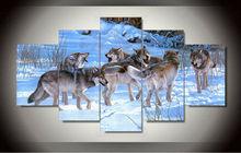 5 Pièce Livraison Gratuite Pas Cher abstraite Moderne Mur Peinture Animal Loup Accueil Art Contemporain Photo Peinture sur Toile Impressions F/1268