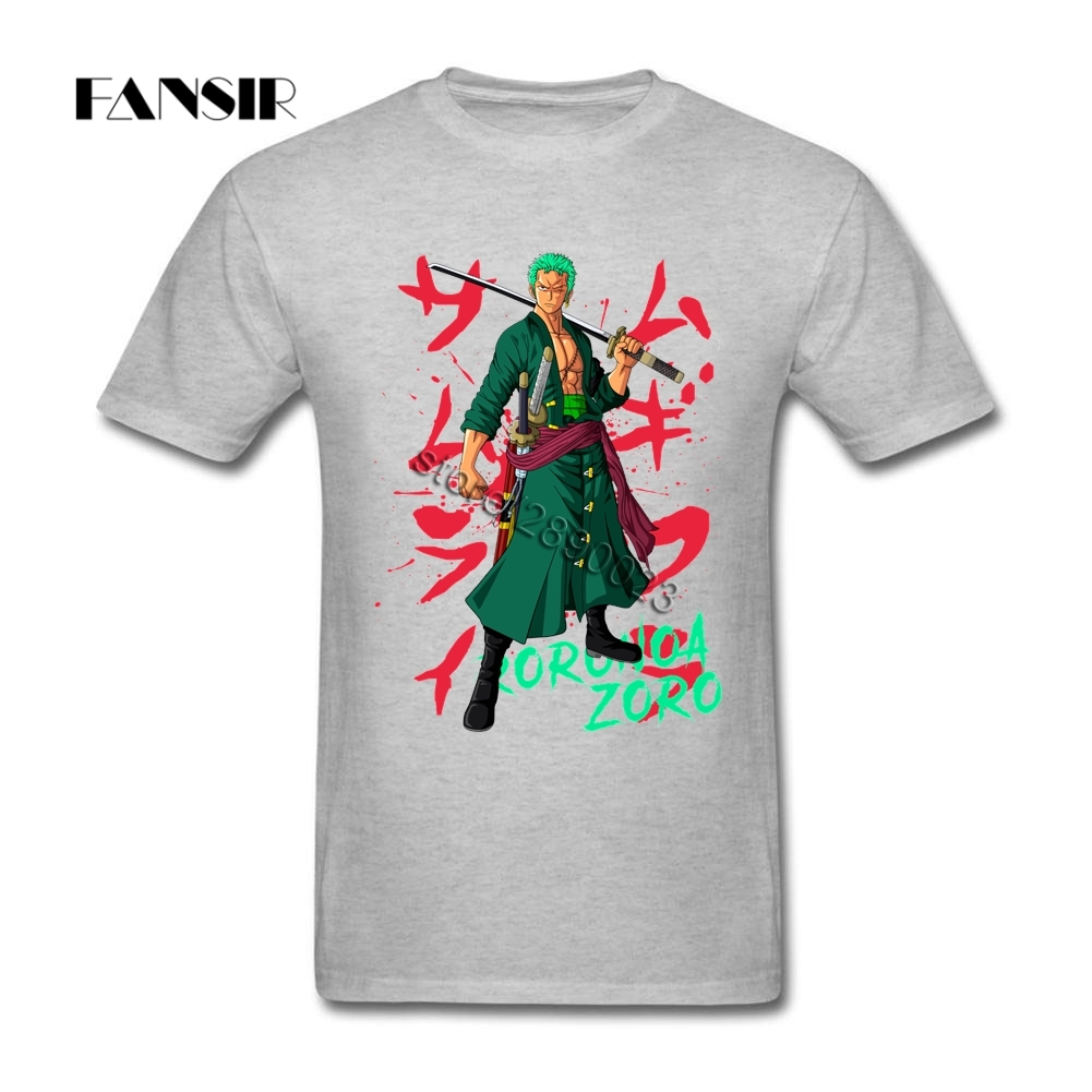 Printed T-shirt Men Man's Roronoa Zoro One Piece Men T Shirts 100% Cotton Short Sleeve Group Tops Tee