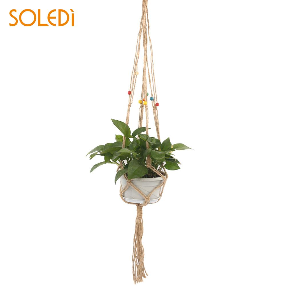 home garden flowerpot hanging baskets beautiful jute linen rope