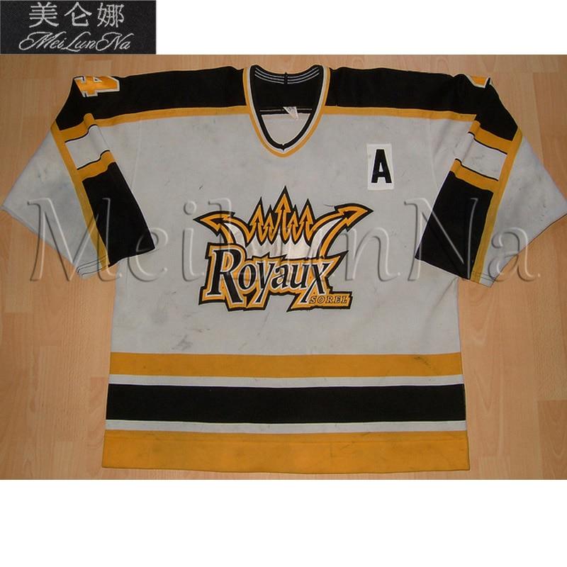 MeiLunNa Customize QSPHL LNAH Sorel Royaux Hockey Jerseys Home White Sewn On Any Name NO. Size