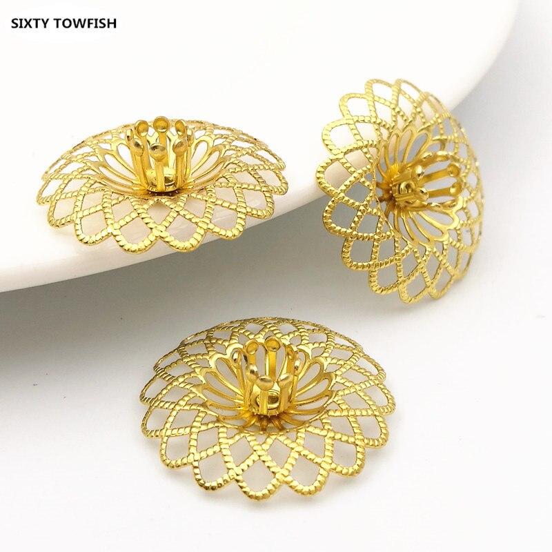 22mm Original Brass Filigree Flowers Slice Charms Jewelry DIY Components 20PCS B10033