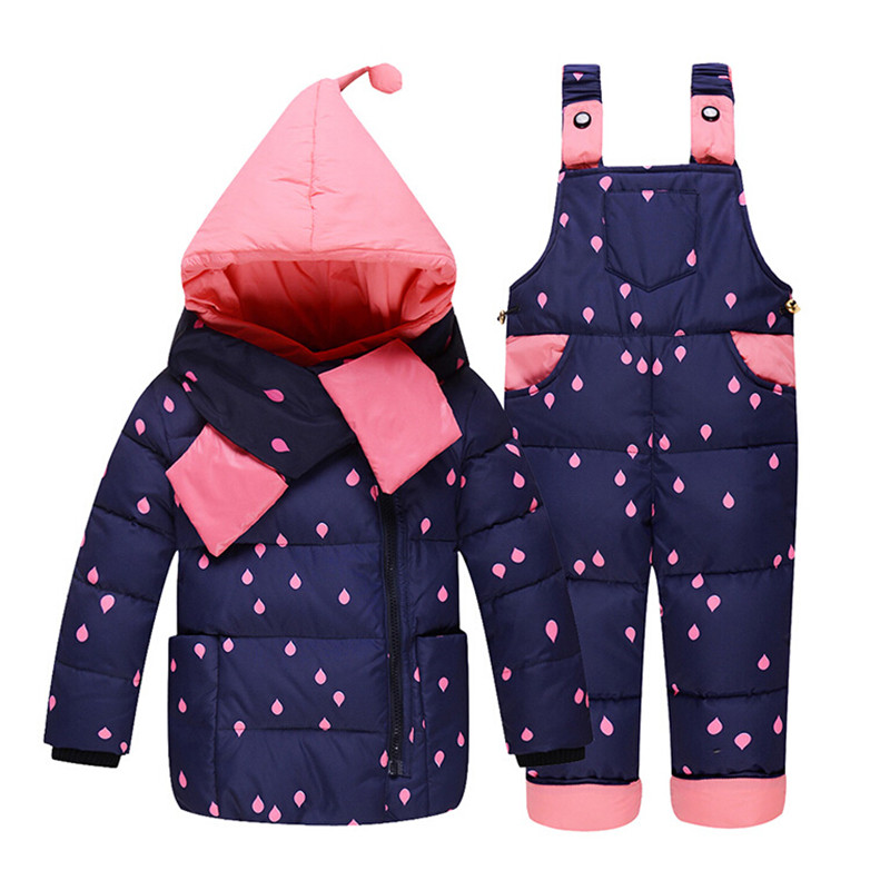 63434da41 Baby Girl Winter Down Clothing Sets Winter Dot Print Hooded Newborn ...