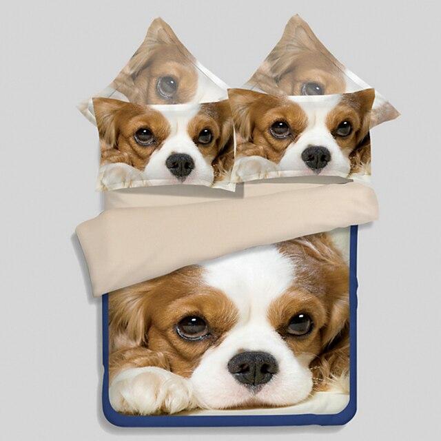 Lenzuola Matrimoniali Con Cani.Carino 3d Cucciolo Di Cane Copripiumino Set 3 4 Pcs Letto