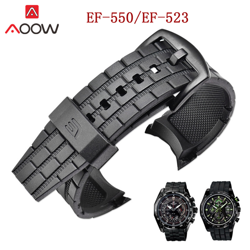 Rubber Resin Watchband For Casio Edifice EF-550/ EF523 Stainless Steel Buckle Men Sport Replace Bracelet Band Strap Accessories