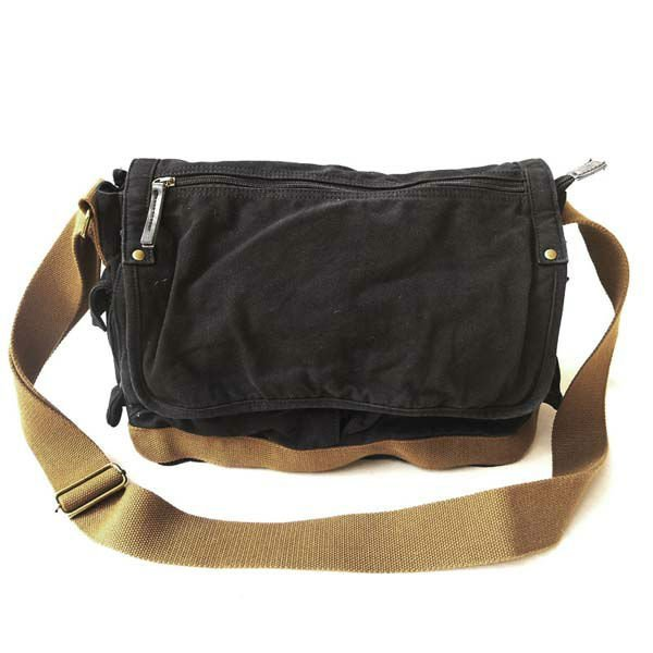 Thick Canvas Genuine Leather Sling Bag Men S Messenger Shoulder Leisure