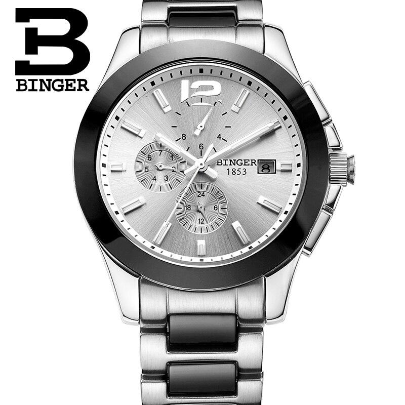 יוקרה שעוני יד מותג שוויץ BINGER חלל מכאני שעון עמיד למים שעון של גברים קרמיקה B627-1