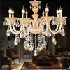 Modern Rectangular Gold Crystal Chandelier Cheap Crystal Chandelier Free 10 E14 LED Lamps Factory Wholesale