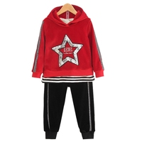 2017 New Style Children Clothing Casual Sports Set Baby Girls Winter Clothes 2pcs Gold Velvet Star