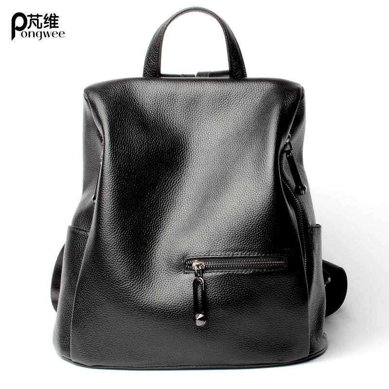 PONGWEE Fashion Backpack Brand Designer Anti Theft Backpack Zipper At Backside 100% Genuine Leather Women Backpack American недорго, оригинальная цена