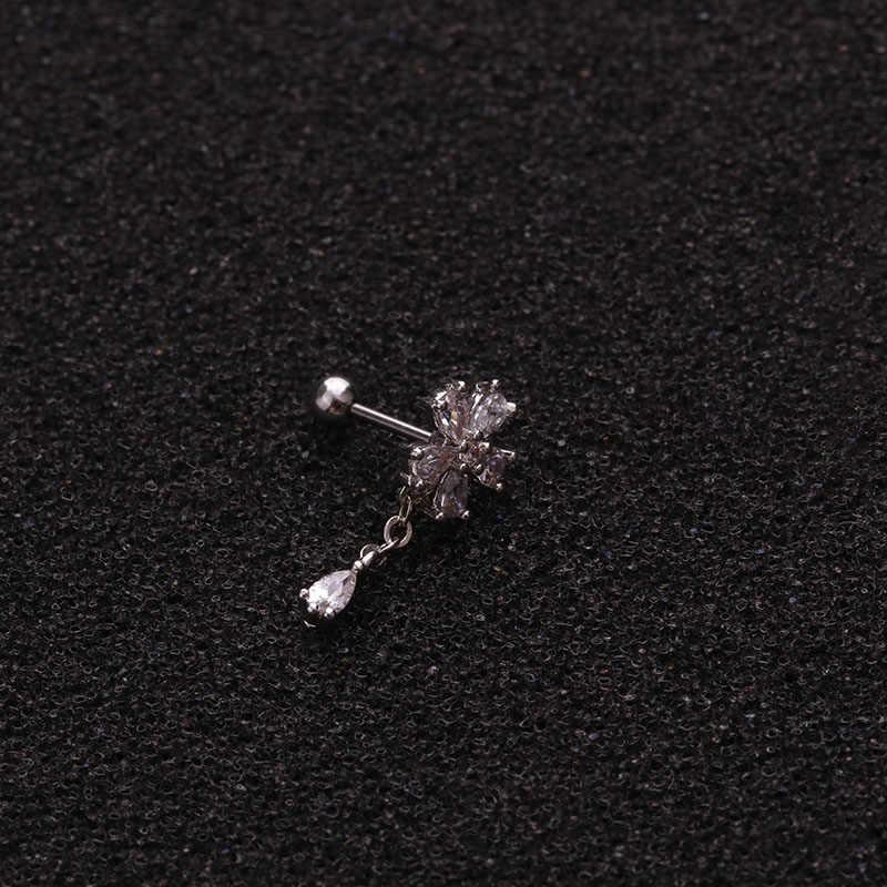 Feelgood пирсинг уха ювелирные изделия Cz треугольный лук цветок висячие серьги, Надеваемые На ушной хрящ 20 г спираль Tragus раковины винт обратно Шпильки