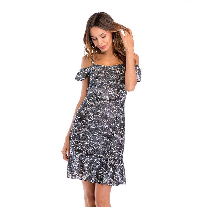 New Women Dress Summer Floral Print Dress 2018 Boho Dress Sleeveless Halter Sexy Off Shoulder Beach Mini Dress Vestidos H8