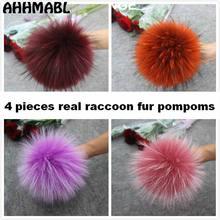 4 ชิ้น/ล็อตใหม่สี DIY ธรรมชาติ Raccoon จริงขน Pompoms ปุยขนสัตว์ Pom pom สำหรับหมวกฤดูหนาว Beanies ถักหมวก Skullies