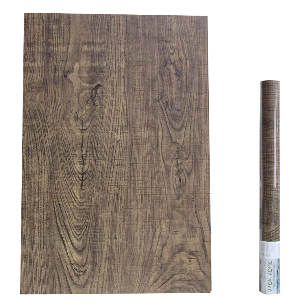 Haokhome Vintage Faux Wood Wallpaper Self Adhesive Lt Brown Wooden Plank Sticker Living Room Furniture Sticker Decoration