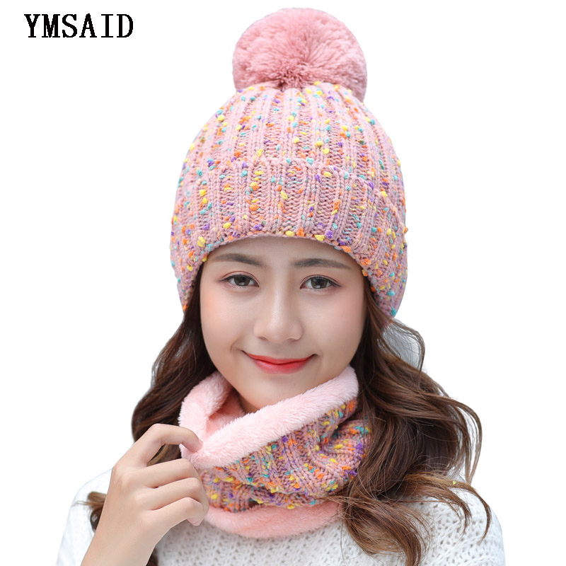 Ymsaid 2018 New Fashion Women Warm Winter Set Of Ladies Girl Caps With Scarf Neckerchief Top Quality Balaclava Knitted Hat