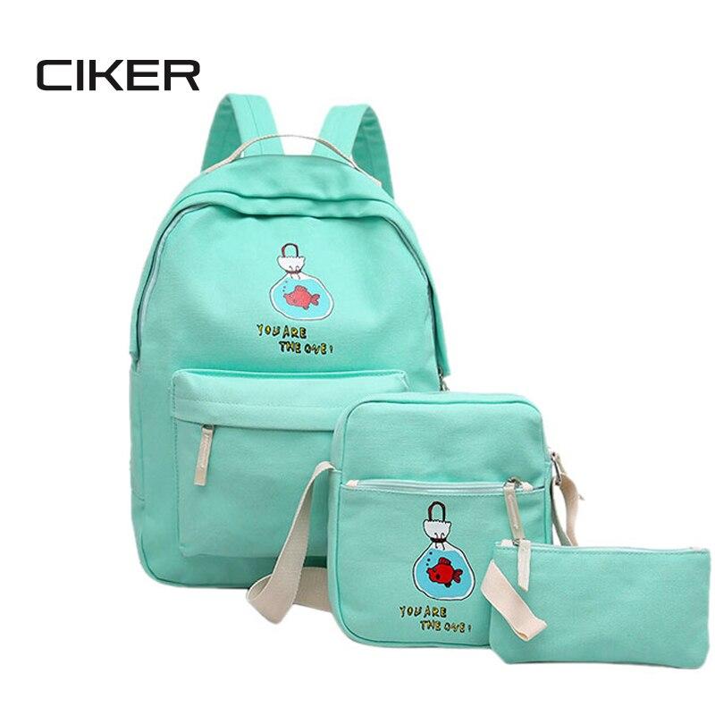 CIKER Women s backpack for teenage girls mochila rucksack new style fashion shoulder bag 3pcs set
