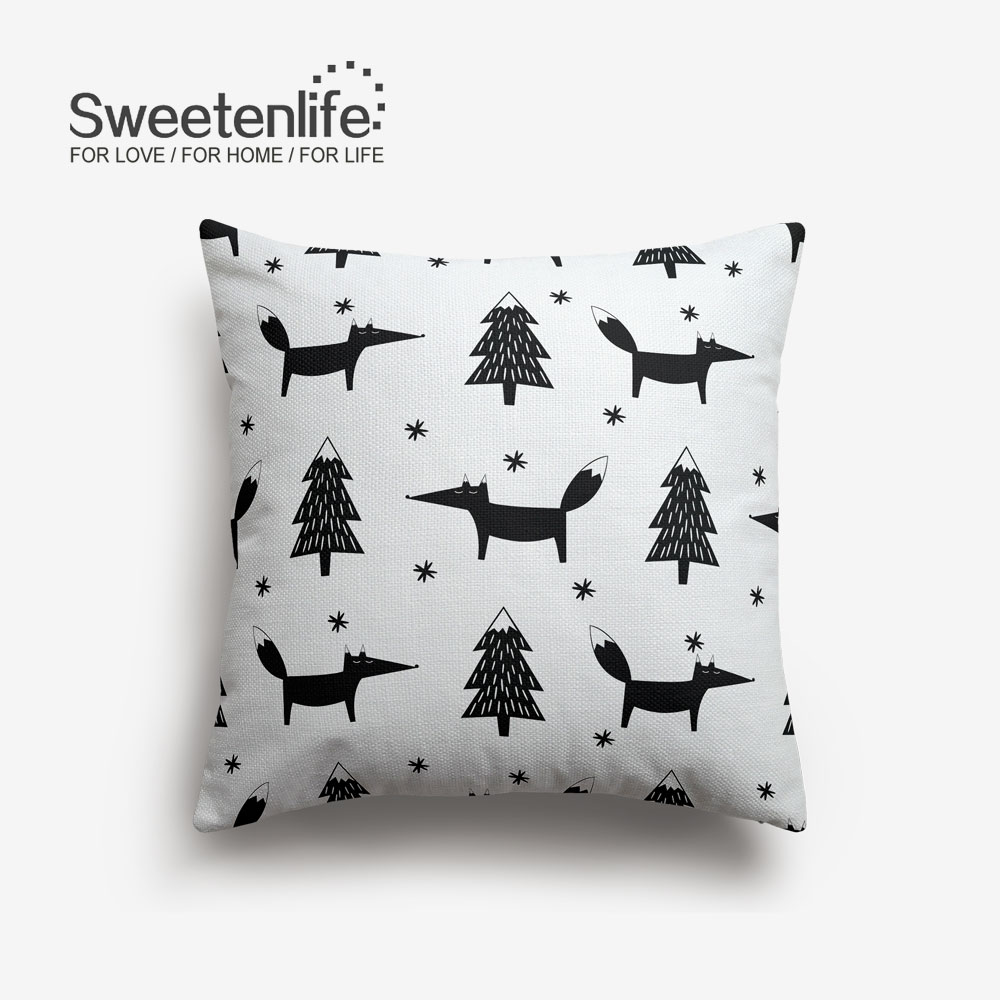 Sweetenlife Cute Cartoon Pattern Pillow Cover Black And White Forest Decorative Throw Pillows Simple Linen Fabric Cushion In From Home