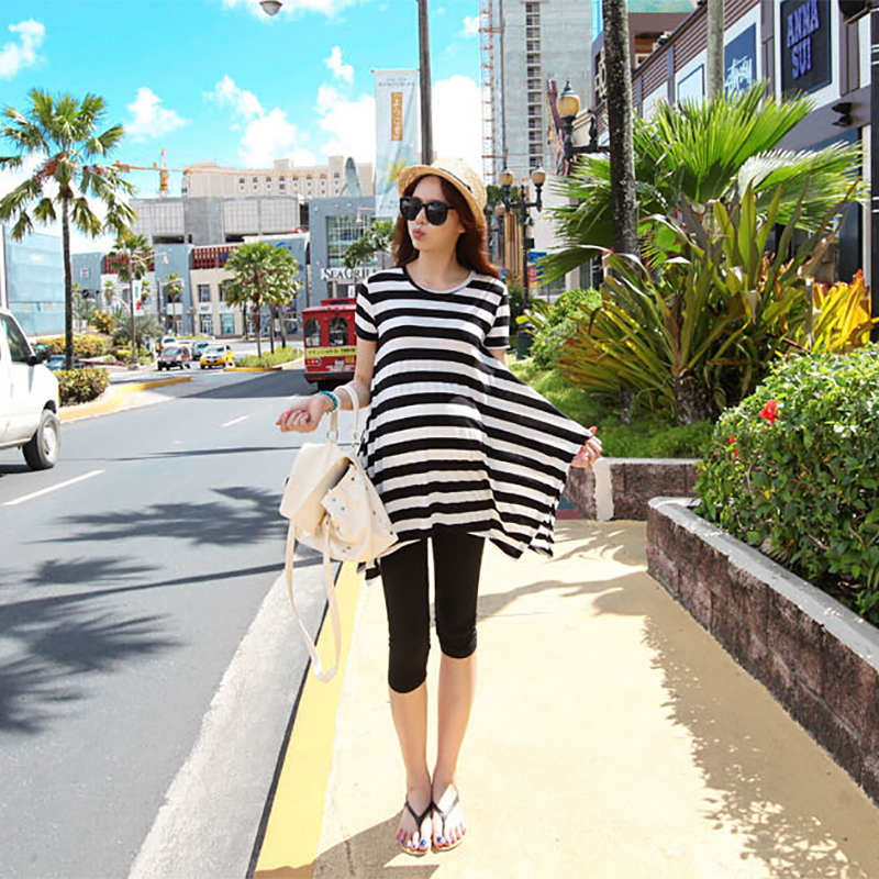 ФОТО 2016 High quality maternity dresses summer striped clothes for pregnant women irregular casual beach dress pregnancy wholesale