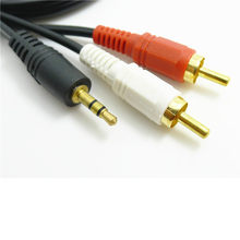 Hot selling1.5m 5 ft Y 3.5mm Male Plug to Dual 2 RCA Jack Cable Stereo PC Audio Splitter Aux To 2 RCA Audio Cables(China)