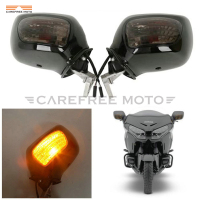 Black Motorcycle Rear View Mirror Smoke Signal Lens Case for Honda Goldwing GL1800 F6B 2013 2017