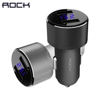 ROCK Dual USB Car Charger With LED Digital Display Universal 3 4A 2 USB Car Charger