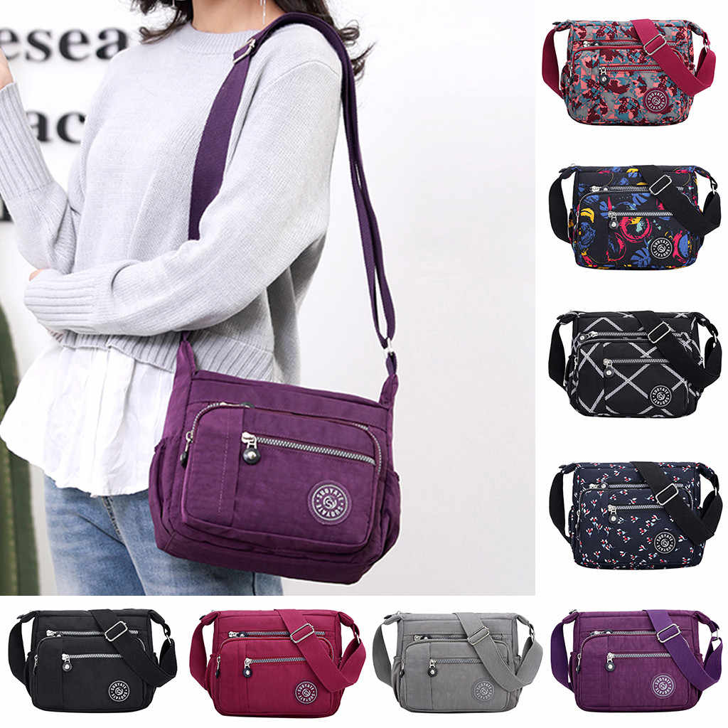 Wanita Komposit Tas Mewah Tas Kulit Fashion Nilon Messenger Single Bahu Tas Crossbody Tas Tahan Air 4 Pcs Wanita Set